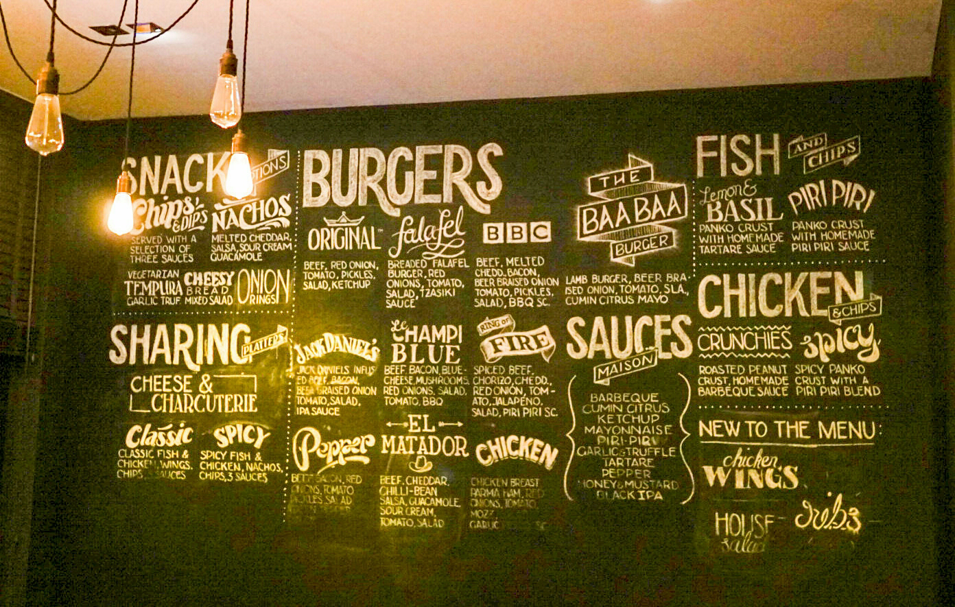 The food and beer panels are a good welcome to the bar. Most of the food goes well with a good craft beer on draught